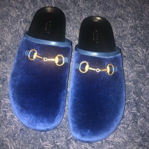 Gucci River Horsebit Blue Velvet Mules